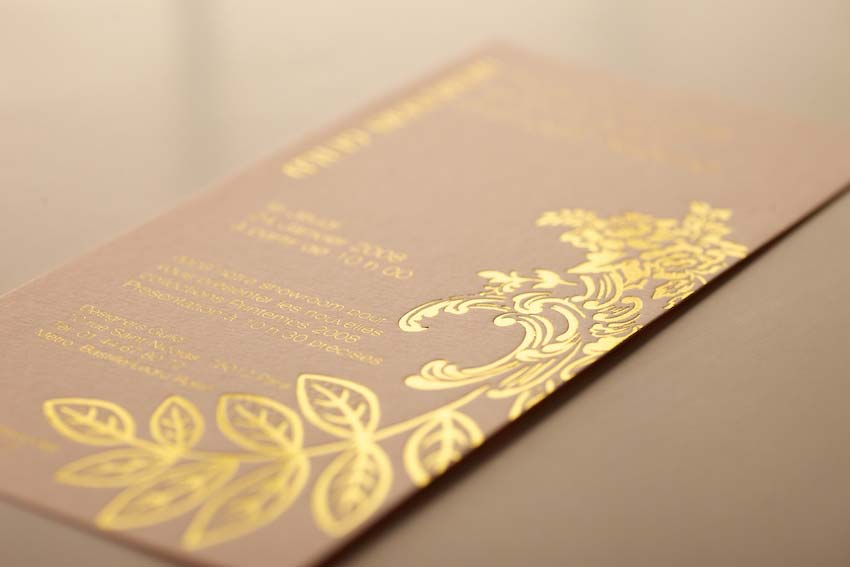 Invite Foil Blocked in Satin gold on a Colourplan 540gsm stock