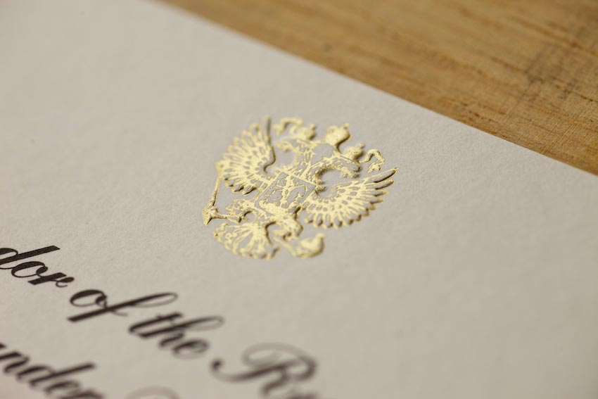 Foil Blocked and Embossed Crests for invites and stationery