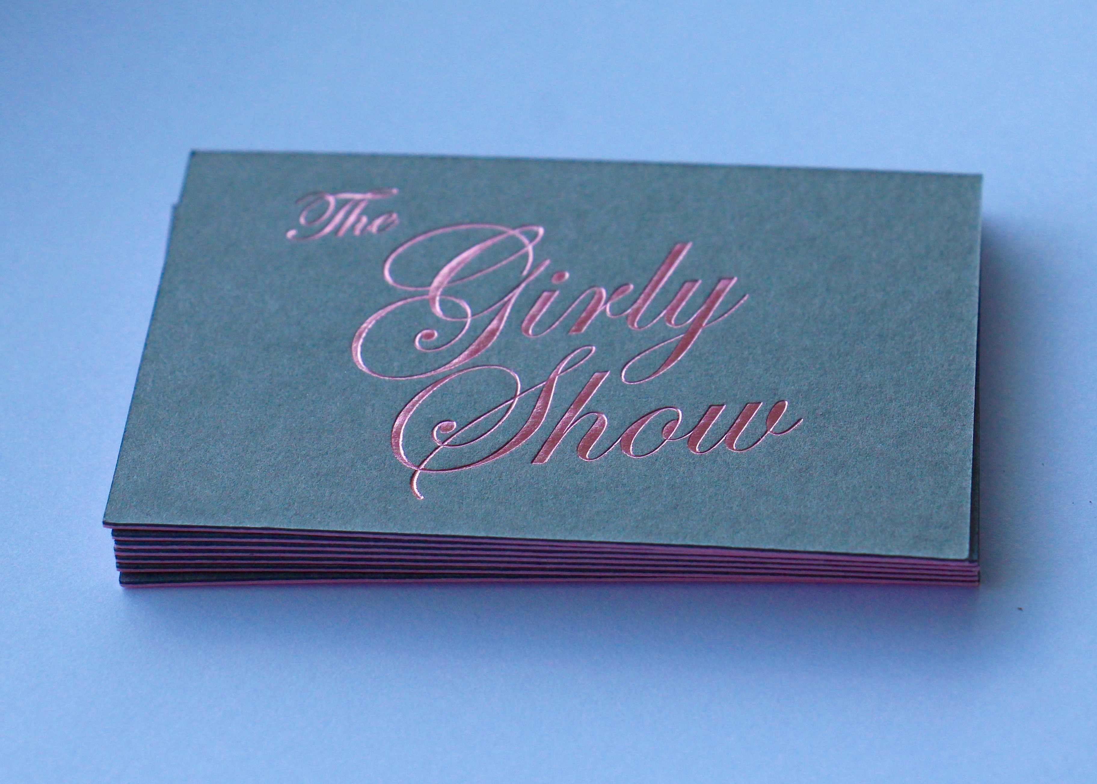 Pink Metallic foil onto Colourplan 270gsm duplexed with a pink centre