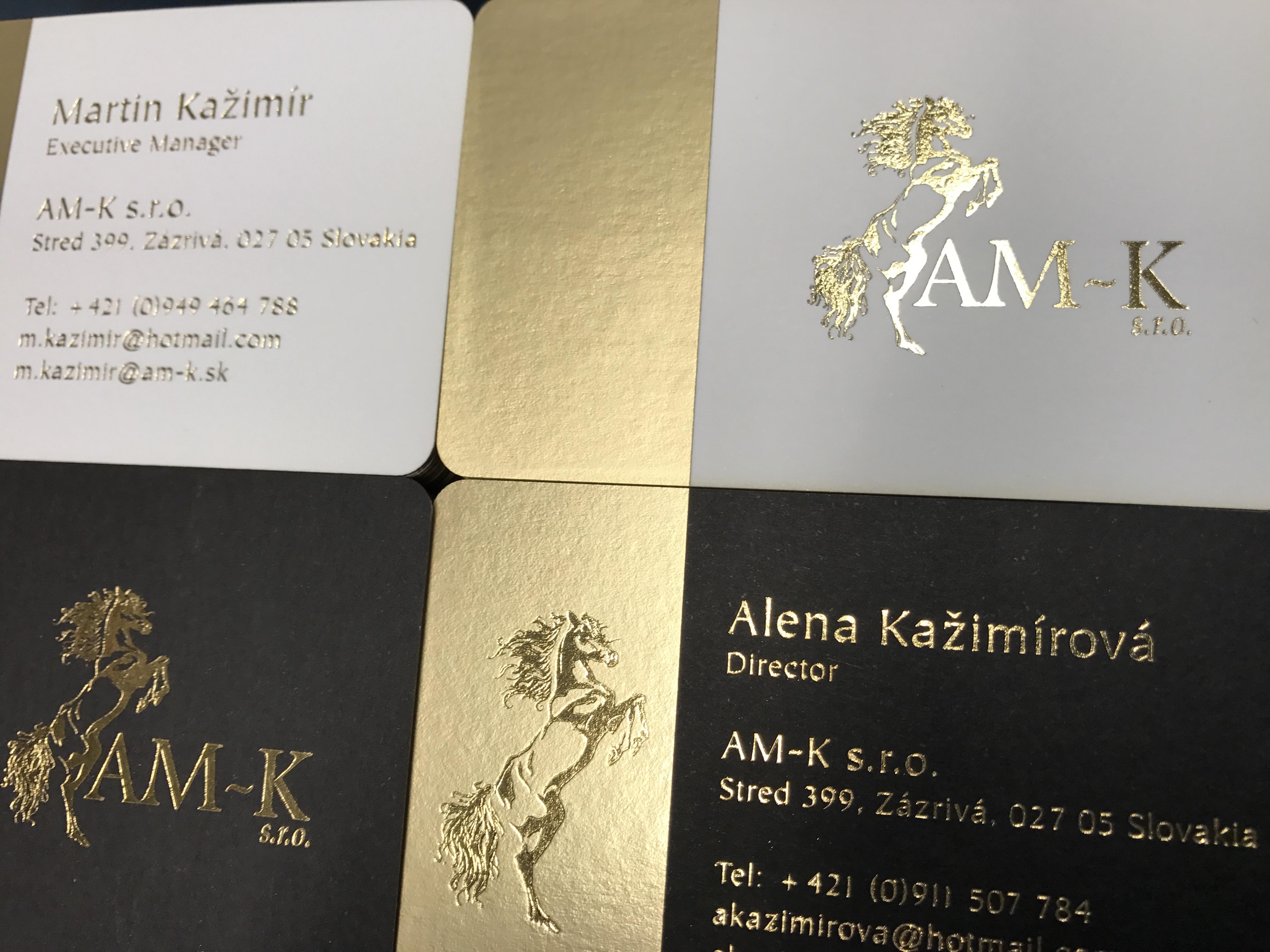 Gold Foil on Satin Gold Foil Business Cards