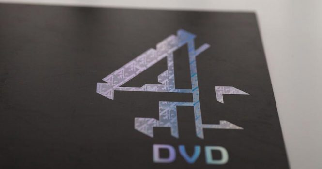 Foil Blocked in holographic foil with a Uni-fraction etched die onto ebony stock