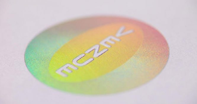 Foil Blocked in diffraction foil with a pattern etched into our tooling creating an amazing effect
