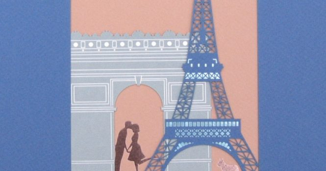 Eiffel Tower Foil blocked and laser cut on 4 different colored Stocks